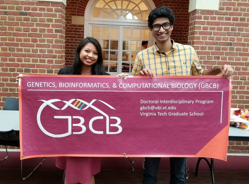 GBCB students Brittany Boribong and Amogh Jalihal representing GBCB at the Virginia Tech Graduate School Fair in Fall 2017